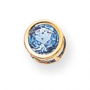 14k 7mm Blue Topaz bezel pendant