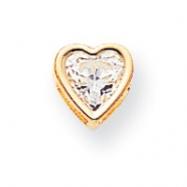 14k 6mm Heart Cubic Zirconia bezel pendant
