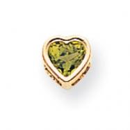 14k 5mm Heart Peridot bezel pendant
