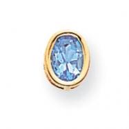 14k 7x5mm Oval Blue Topaz bezel pendant