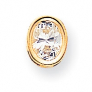 14k 8x6mm Oval Cubic Zirconia bezel pendant