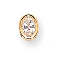 14k 7x5mm Oval Cubic Zirconia bezel pendant