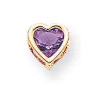 14k 6mm Heart Amethyst bezel pendant