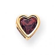 14k 6mm Heart Garnet bezel pendant