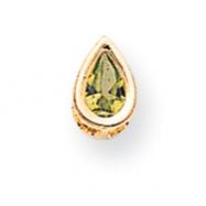 14k 6x4mm Pear Peridot bezel pendant