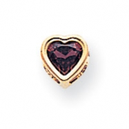 14k 5mm Heart Garnet bezel pendant