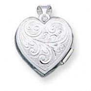 Sterling Silver Scrolled Heart Locket