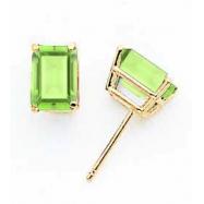 14k 7x5mm Emerald Cut Peridot earring