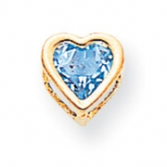 14k 6mm Heart Blue Topaz bezel pendant