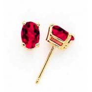14k 6x4mm Oval Ruby earring