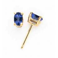 14k 5x3mm Oval Sapphire earring