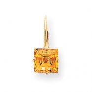 14k 7mm Princess Cut Citrine leverback earring