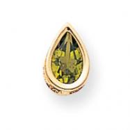 14k 9x6mm Pear Peridot bezel pendant