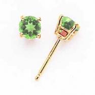 14k 4mm Peridot earring