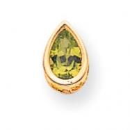 14k 8x5mm Pear Peridot bezel pendant