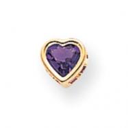 14k 5mm Heart Amethyst bezel pendant