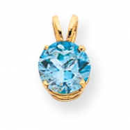 14k 8mm Blue Topaz pendant