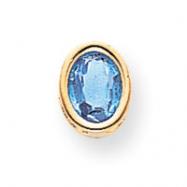 14k 8x6mm Oval Blue Topaz bezel pendant