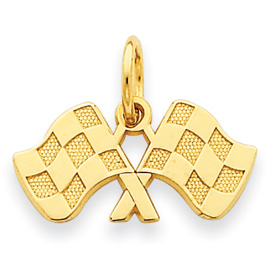 14k Racing Flags Charm