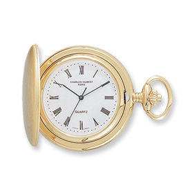 Charles Hubert 14k Gold-plated White Dial Black Pocket Watch