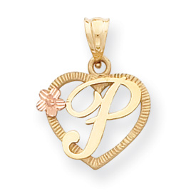 14k Two-Tone Initial P in Heart Charm