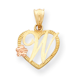 14k Two-Tone Initial W in Heart Charm