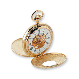 Charles Hubert 14k Gold-plated White Dial Pocket Watch