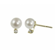 "14K Yellow Gold 6-6.5mm""AA""Freshwater Pearl & .06ctw Diamond Earrings"