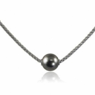 "Sterling Silver 9-10 Tahitian Pearl Solitaire 18"" Necklace"