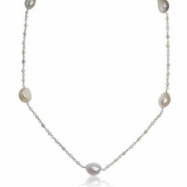 "Sterling Silver Freshwater Pearl Station 18"" Necklace"