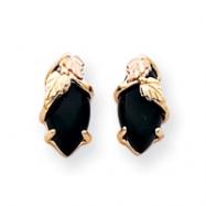 10k Black Hills Gold Onyx Earrings