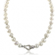 "Sterling Silver 10-11mm Ringed Freshwater Pearl & Diamond Clasp 18"" Necklace"