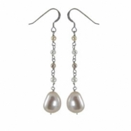 Sterling Silver Multi Colored Freshwater Pearl Station Earrings