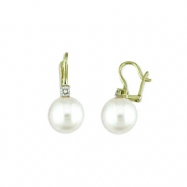 14K Yellow Gold Sterling Silver Pearl &.24 Ct Diamond Earrings
