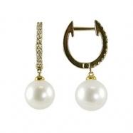 14K Yellow Gold 8-8.5mm White Freshwater Pearl & Diamond Earrings
