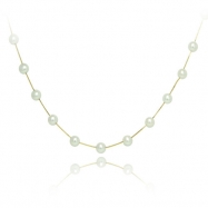 "14K Yellow Gold Freshwater Pearl &  Station 17"" Necklace"