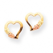 10k Black Hills Gold Heart Earrings
