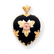 10k Black Hills Gold Onyx Heart with Leaves in Center Pendant