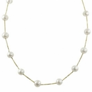 "14K Yellow Gold 9-10mm Freshwater Pearl Station 17"" Necklace"