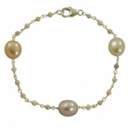 "Sterling Silver Multi Colored Freshwater Pearl Station 7.5"" Bracelet"