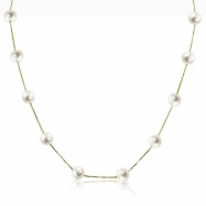 """14K Yellow Gold 7-7.5mm Freshwater Pearl Station 17"""" Necklace"""