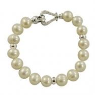 "Sterling Silver 10-11mm Ringed Freshwater Pearl Bracelet & Diamond Clasp 8"" Bracelet"