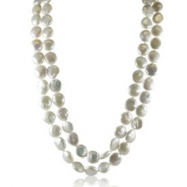 """14K Yellow Gold 12-13mm Coin Freshwater Pearl 48"""" Necklace"""