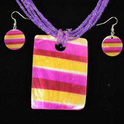 Multicolored Purple Mother of Pearl Necklace and Earrings Set