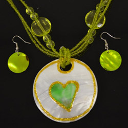 Green and White Heart Necklace and Earrings Set