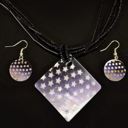 Stars Mother of Pearl Necklace and Earrings Set