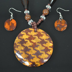 Brown Mother of Pearl Necklace and Earrings Set