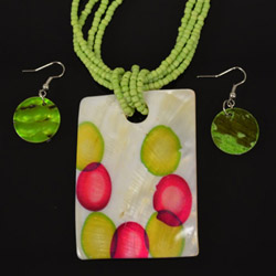Green Mother of Pearl Necklace and Earrings Set