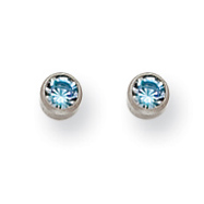 Titanium 4mm Aqua Crystal Bezel Earrings