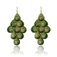 Gold-tone Green Enamel Dangle Earrings